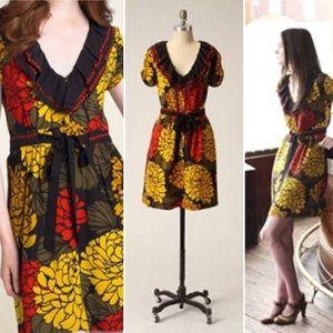 Anthro Leifsdottir Curled Zinnia Silk Dress Sz 4